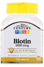 21st Century Biotin 5000 мкг 110 капсул В НАЛИЧИИ