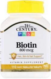 21st Century Biotin 800 мкг 110 таблеток В НАЛИЧИИ