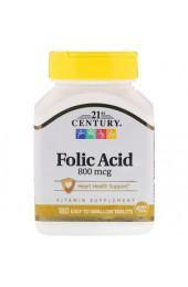 21st Century Folic Acid 800 мкг 180 таблеток В НАЛИЧИИ