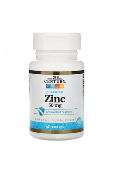21st Century Zinc Chelated 50 мг 60 таблеток ПРЕДЗАКАЗ*