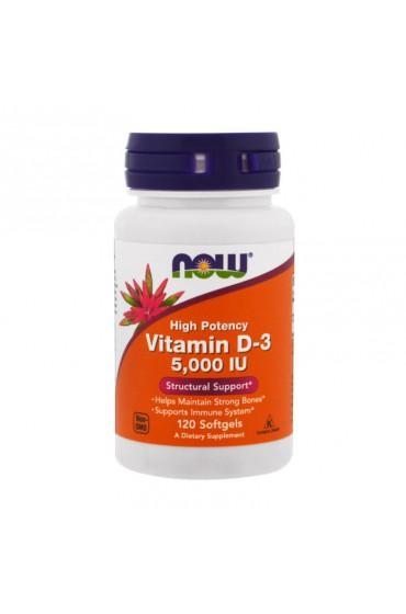 NOW Vitamin D3 5000 IU 120 гелевых капсул В НАЛИЧИИ^