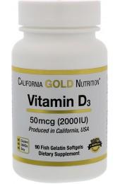 California Gold Nutrition Vitamin D3 2000 IU 90 гелевых капсул