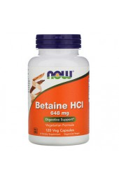 NOW Betaine HCL 648 мг 120 капсул