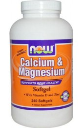 NOW Calcium&Magnesium (with vitamin D and Zinc) 240 гелькапсул