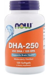 NOW DHA-250 (Omega-3) 120 гелевых капсул