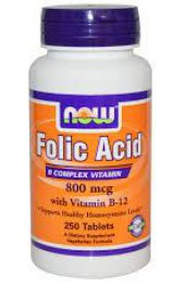 NOW Folic Acid plus vitamin B12 800 мг 250 таблеток