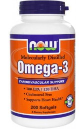NOW Omega 3 1000 мг 200 гелевых капсул